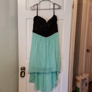 Deb Teal and Black Mini Dress